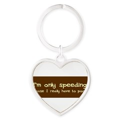 Speeding Funny Heart Keychain