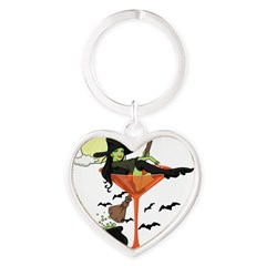 Halloween Martini Girl Heart Keychain