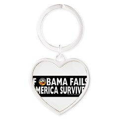 Anti-Obama Obama Fails America Survives Heart Keychain