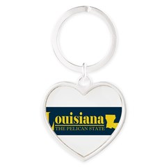 Louisiana Gold Heart Keychain