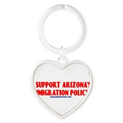 I SUPPORT ARIZONA'S IMMIGRATION POLICY! Heart Keychain