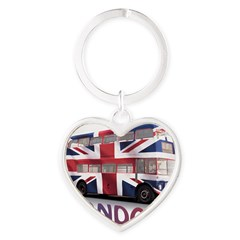 London Bus with Union Jack an Heart Keychain