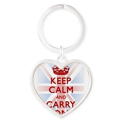 Keep Calm and Carry On Heart Keychain