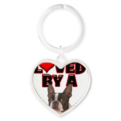 Loved by a Boston Terrier Heart Keychain