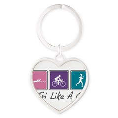 Tri Like A Girl Triathlete Heart Keychain