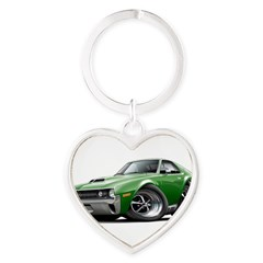 1970 AMX Green Car Heart Keychain
