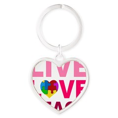 Live Love Teach Autism Heart Keychain