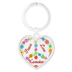 Peace Love Hamsters Heart Keychain