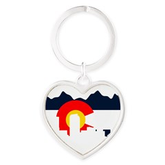 Colorado Rockies Flag Heart Keychain