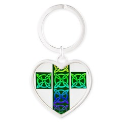 Glowing Celtic Cross Heart Keychain