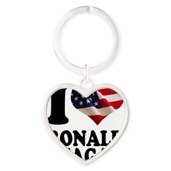 I heart American Flag Ronald Heart Keychain