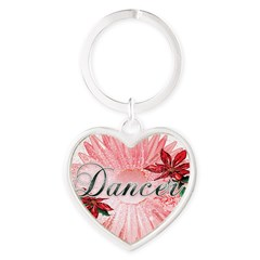 Dancer Pink Snow Flower Heart Keychain
