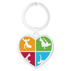 Nice various breakdancing Heart Keychain