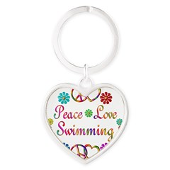 Peace Love Swimming Heart Keychain