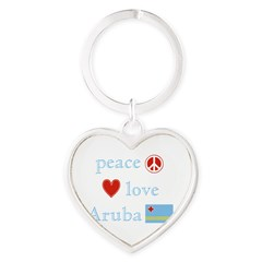 Peace, Love and Aruba Heart Keychain
