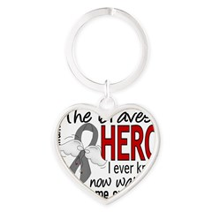 Bravest Hero I Knew Brain Cancer Heart Keychain