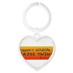 Support Wildlife - Raise Twin Heart Keychain