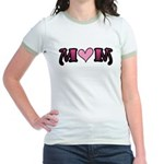 Tattoo Mom Pink Heart Mother's Jr. Ringer T-Shirt