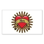 Red Heart Tattoo Mom Mother Rectangle Sticker