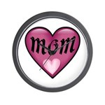 Pink Heart Mom Mother's Love Wall Clock