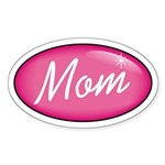 Pink Mom is my Idol Logo Oval Sticker