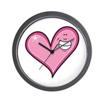 Pink Heart Cartoon Smile Smiley Wall Clock