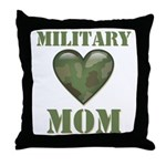 Military Mom Camouflage Camo Heart Throw Pillow