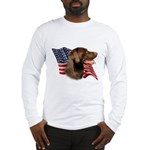 Chocolate Lab Flag Long Sleeve T-Shirt