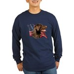 Chocolate Lab Flag Long Sleeve Dark T-Shirt