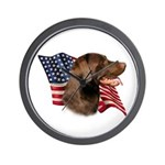 Chocolate Lab Flag Wall Clock