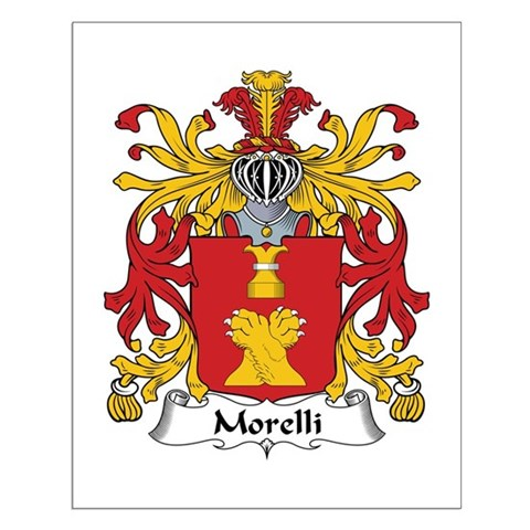 The Morelli Family Crest. Be proud of your genealogy and family name! Get this detailed & authentic design on cool t-shirts, mugs, magnets, & more.