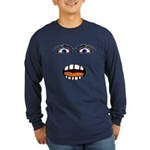 Shocked Cartoon Face Long Sleeve Dark T-Shirt