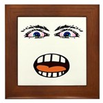 Shocked Cartoon Face Framed Tile