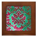 Magenta Damask Framed Tile