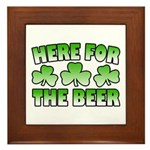 Here for the Beer Shamrock Framed Tile