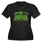 Kiss Me I'm Single Shamrock Women's Plus Size V-Ne