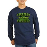 Irish You Were Beer Shamrock Long Sleeve Dark T-Sh