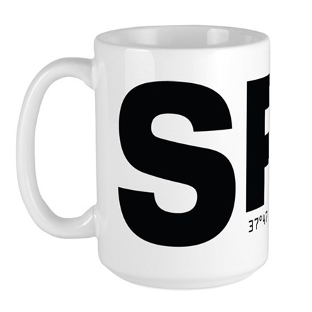San Francisco Airport Code SFO Black Des Large Mug
