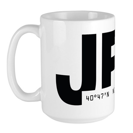 New York City Airport Code JFK Black Des Large Mug