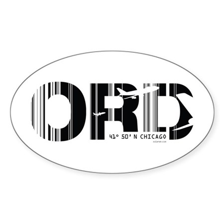 Chicago Illinois ORD Air Wear Oval Sticker