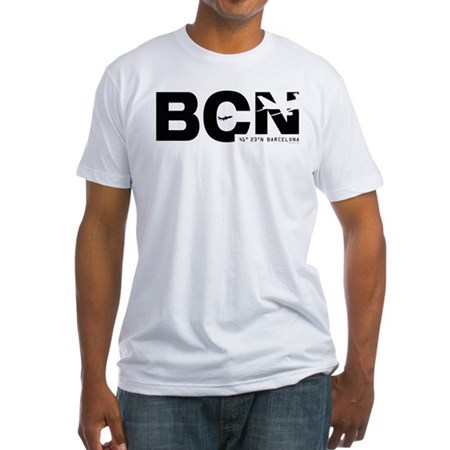 Barcelona Airportcode BCN Black Des Fitted T-Shirt