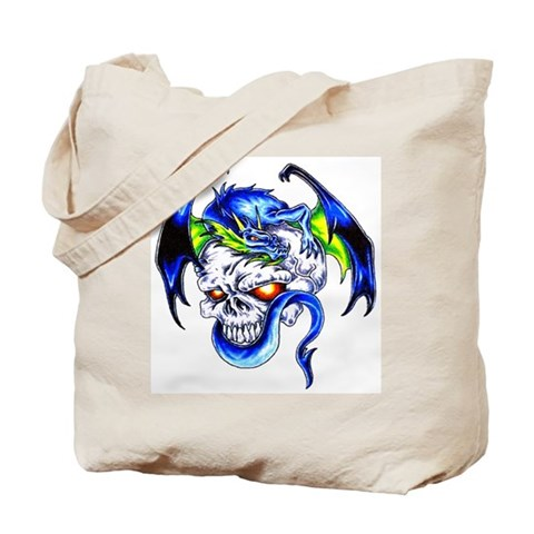 Dragon Skull Motorcycle Tattoo Tote Bag