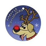 Red Nose Reindeer Yellow Lab Christmas Ornament