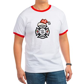 Christmas Firefighter Ringer T