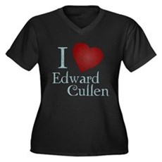I Love Edward Cullen Womens Plus Size V-Neck Dark