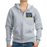 Starry Night / Border Terrier Women's Zip Hoodie