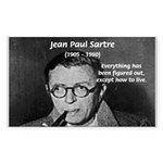 Existentialist Jean-Paul Sartre Sticker (Rectangul