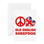 Peace Love Old English Sheepdog Greeting Cards