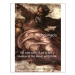 Michelangelo Perfection Quote Small Poster