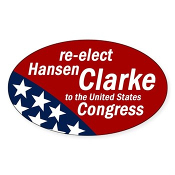 Re-Elect Hansen Clarke to Congress oval patriotic bumper sticker